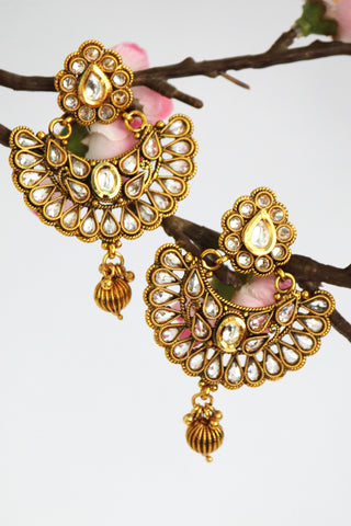 Gold Plated Antique Stone studded Drop Earring, White - SharePyar - 1