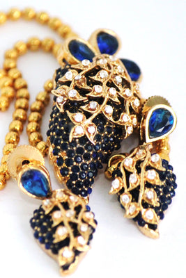 Gold Plated Blue & White Stone Pendant Set - Jewellery - SharePyar
