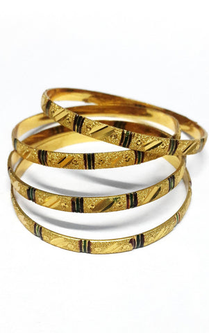 Gold Plated Carved Bangles Set of 4 - SharePyar - 1
