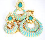 Gold Plated Contemporary Pearl Necklace Set, Sky Blue - Jewellery - SharePyar