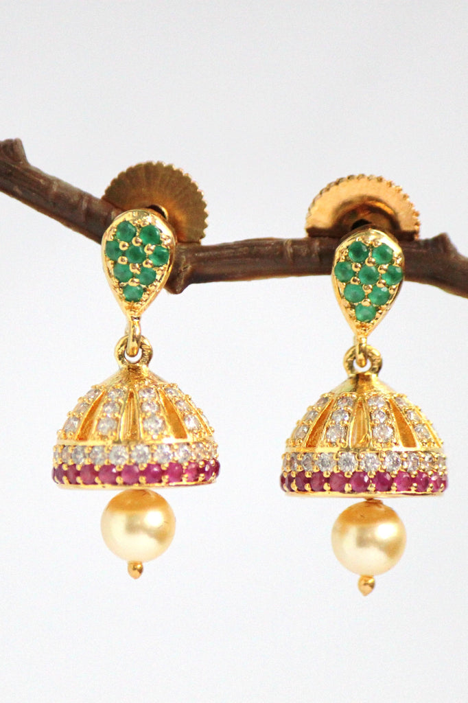 Gold Plated Cubic Zirconia  Pearl Jhumka (Hindi: झुम्का) Earrings - Jewellery - SharePyar