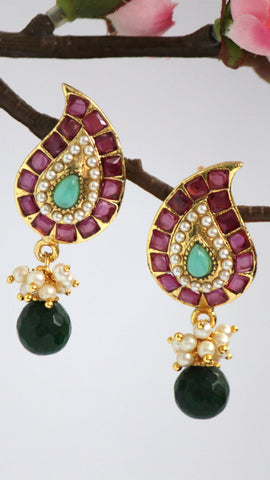 Gold Plated Fusion Drop Earrings, Red & Green - SharePyar - 1