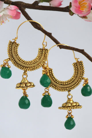 Gold Plated Hoop Jhumki Earring, Green - SharePyar - 1