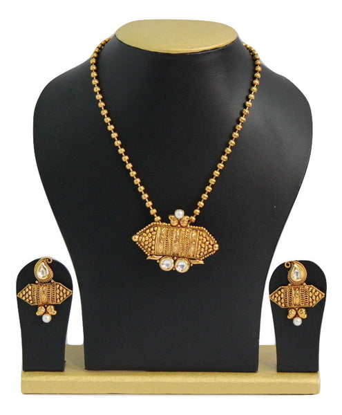 Traditional Gold Plated Kundan Necklace Set - SharePyar - 4