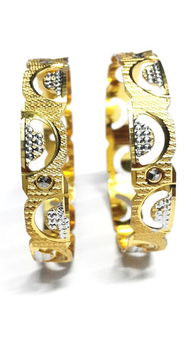 Gold Plated Silver Finish Carved Bangles - SharePyar - 1