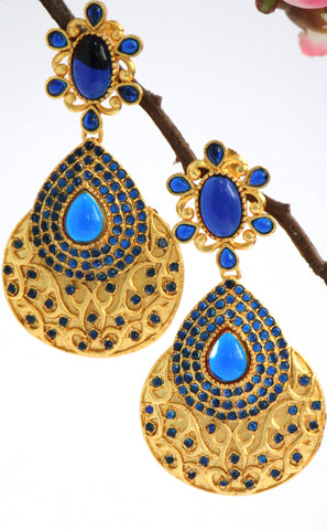 Gold Plated Stone Studded Antique Teardrop Earrings, Blue - SharePyar - 1