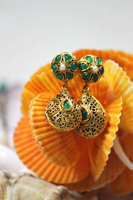 Gold Plated Teardrop Dangle Earrings - Jewellery - SharePyar