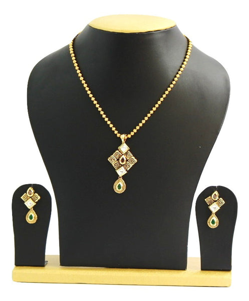 Gold Plated Traditional Kundan Necklace Set with Matching Earrings - SharePyar - 6
