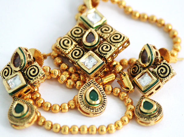 Gold Plated Traditional Kundan Necklace Set with Matching Earrings - SharePyar - 5