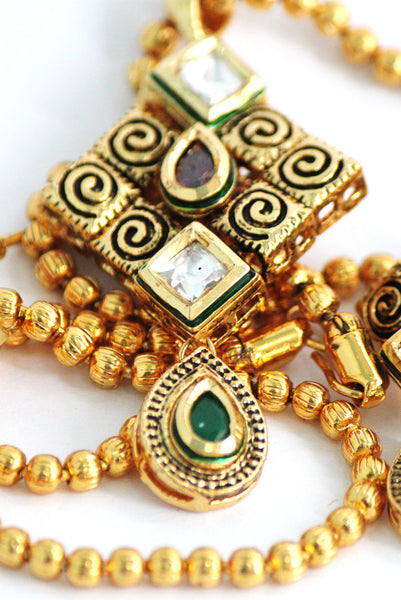 Gold Plated Traditional Kundan Necklace Set with Matching Earrings - SharePyar - 1