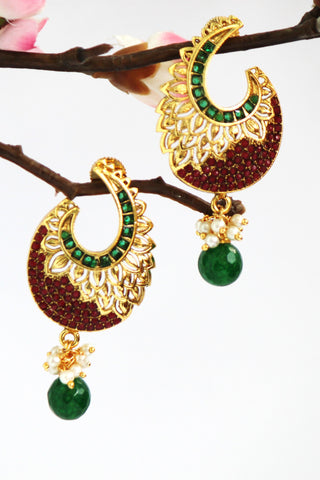 Gold Plated american Diamond Antique Drop Earring, Red/ Green - SharePyar - 1