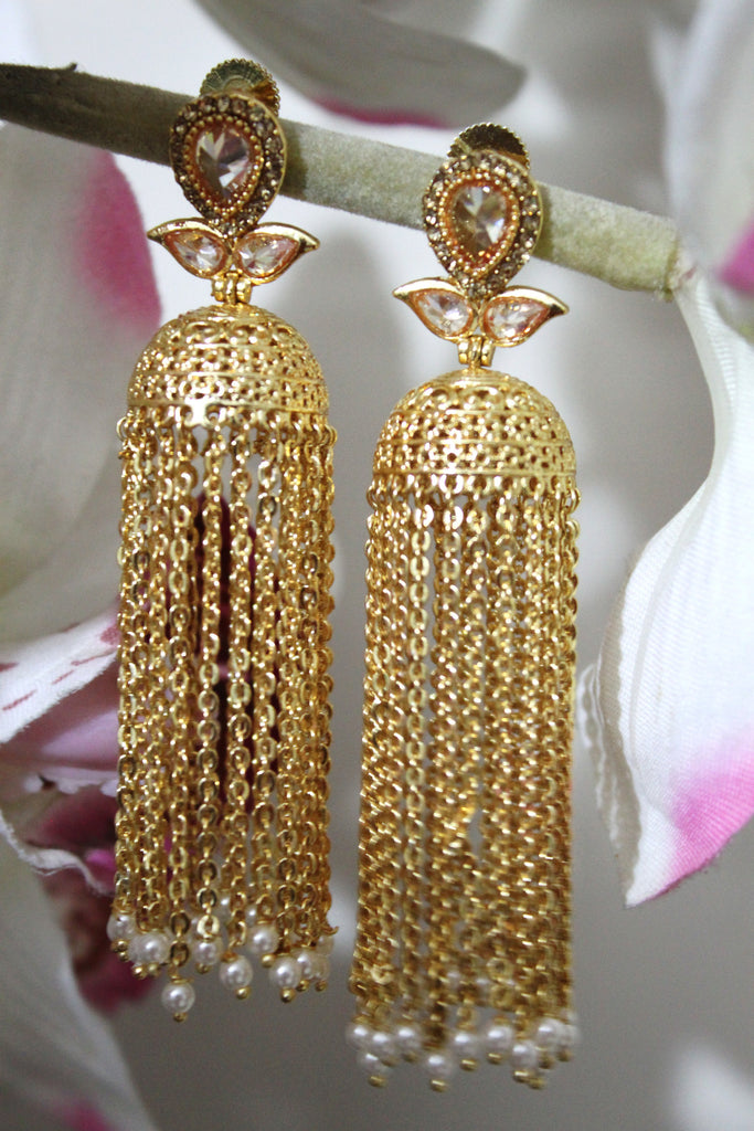 Golden Tassel Chain Drop Jhumki - SharePyar