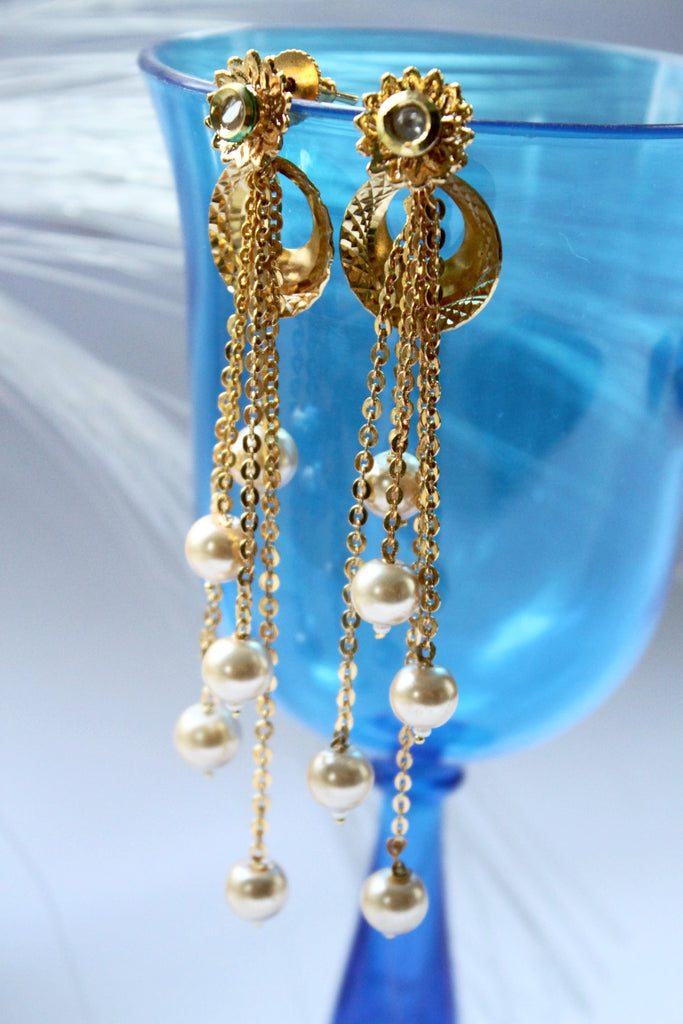 Golden Pearl Tassle  Drop Earrings - Jewellery - SharePyar