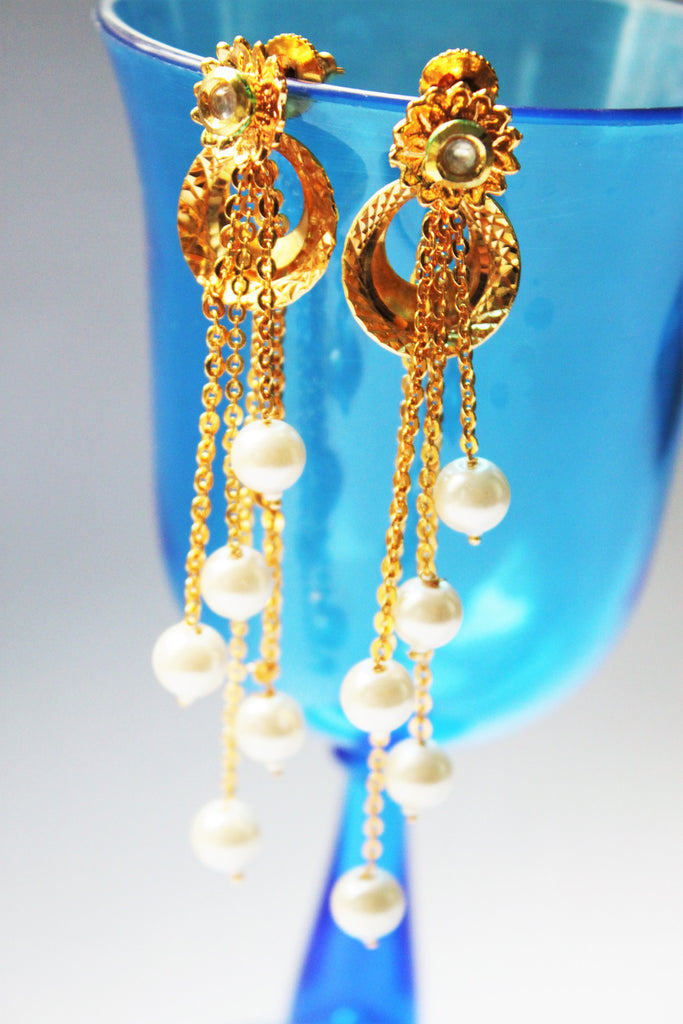 Golden Tassle Pearl Drop Earrings - Jewellery - SharePyar