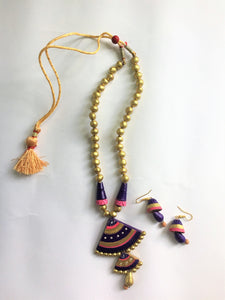 Golden Terracotta Necklace Set - Jewellery - SharePyar