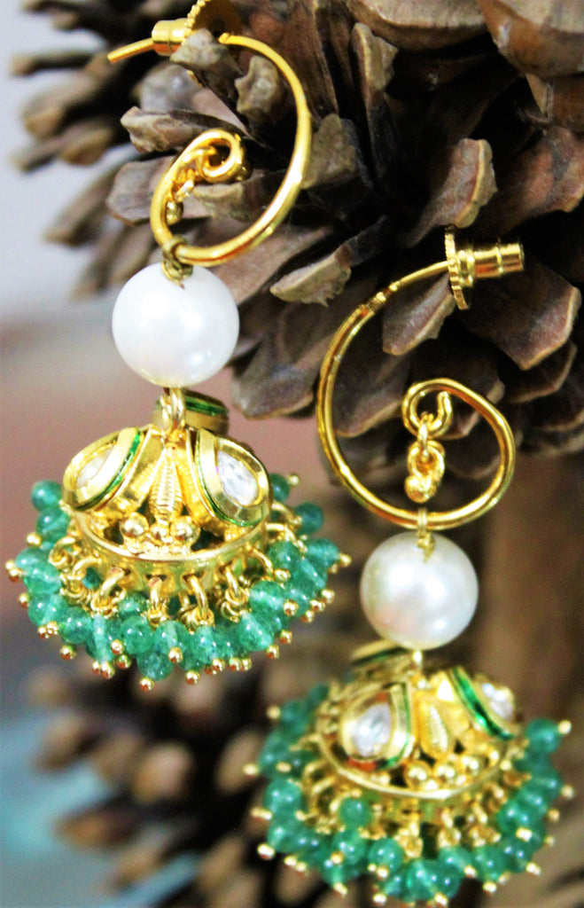 Green Beaded Jhumka - Jewellery - SharePyar