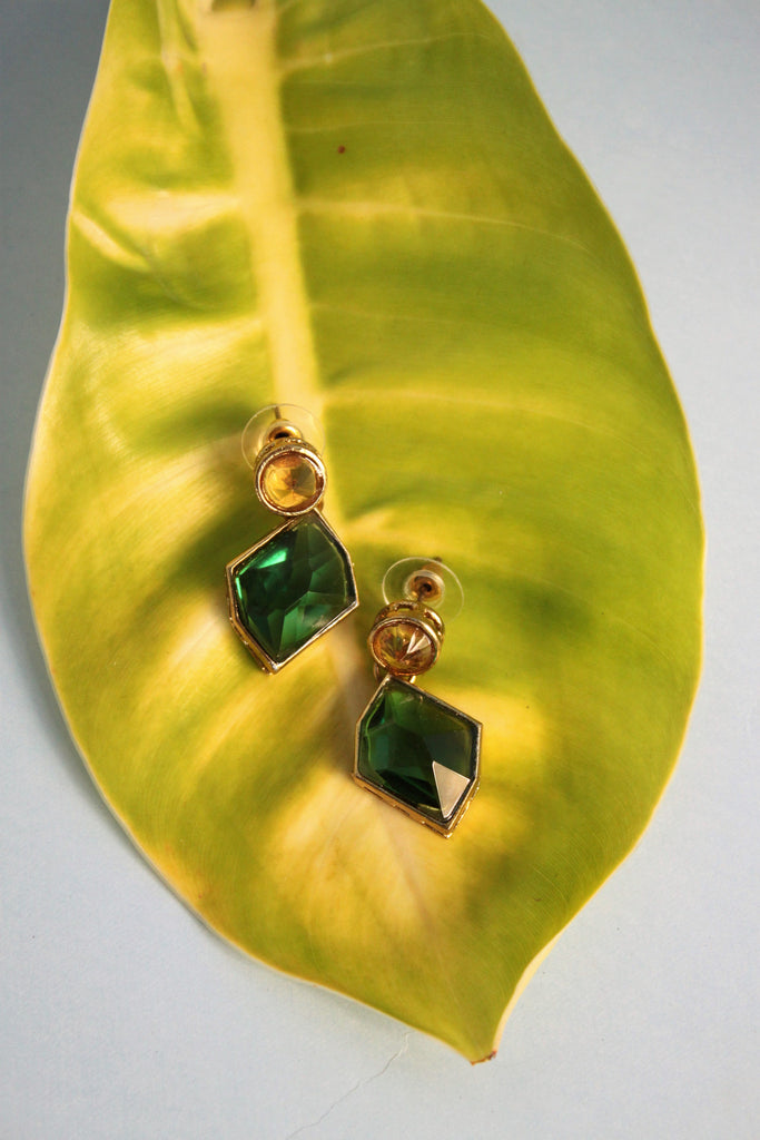 Green Kundan Drop Earrings - SharePyar - 1