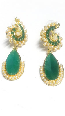 Green Polki Earrings - Jewellery - SharePyar