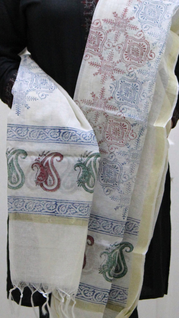 Pure Cotton Hand Block Printed Dupatta, White with Blue, Green & Red Pattern - Dupatta and Stoles - SharePyar
