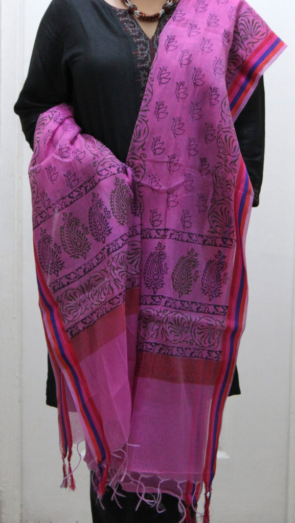 Pure Cotton Hand Block Printed Dupatta, Pink - SharePyar