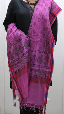 Pure Cotton Hand Block Printed Dupatta, Pink - Dupatta and Stoles - SharePyar