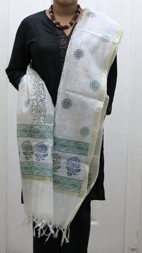 Pure Cotton Hand Block Printed Dupatta, White with Blue & Green Pattern - SharePyar