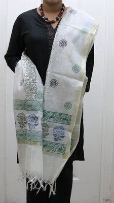 Pure Cotton Hand Block Printed Dupatta, White with Blue & Green Pattern - Dupatta and Stoles - SharePyar
