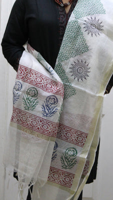 Pure Cotton Hand Block Printed Dupatta, White with Large Green Diamond Pattern - Dupatta and Stoles - SharePyar