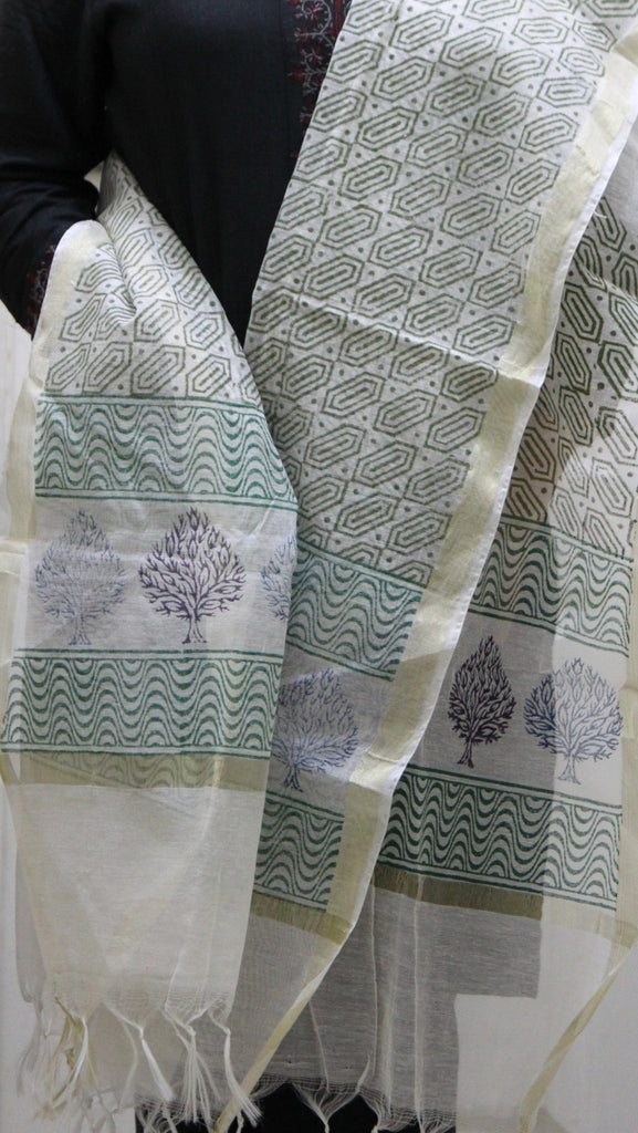 Pure Cotton Hand Block Printed Dupatta, White with Green and Purple Tree Pattern - Dupatta and Stoles - SharePyar