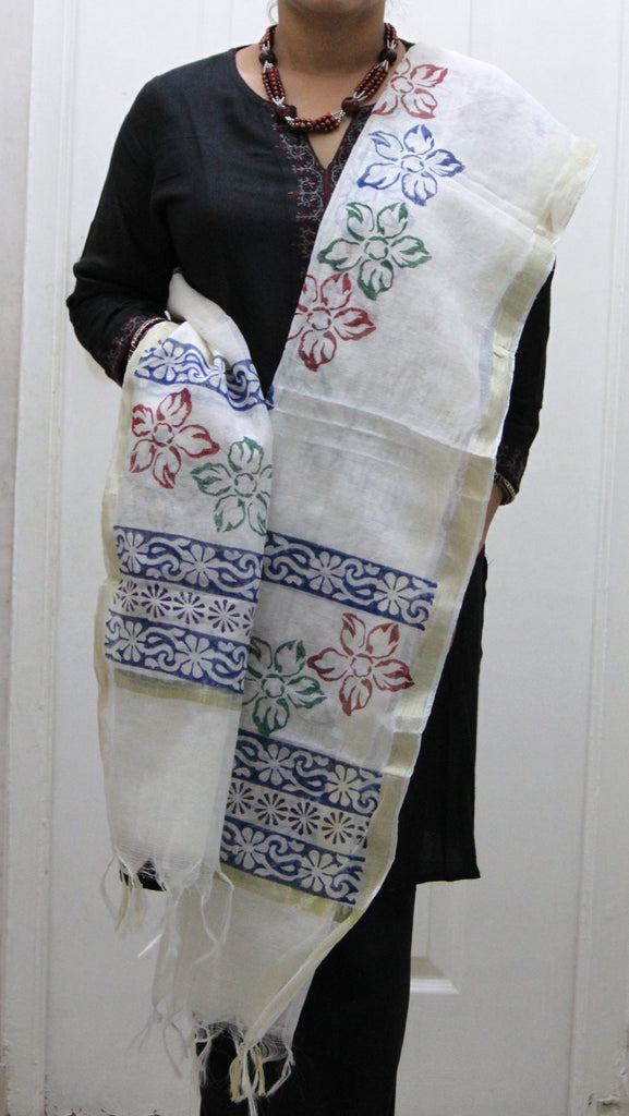 Pure Cotton Hand Block Printed Dupatta, White with Large Flower Pattern - SharePyar