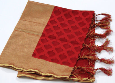 Banarasi Net Handloom Dupatta, Red - Dupatta and Stoles - SharePyar