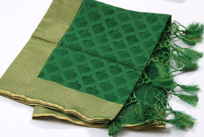 Handloom Banarasi Net Dupatta, Green - Dupatta and Stoles - SharePyar