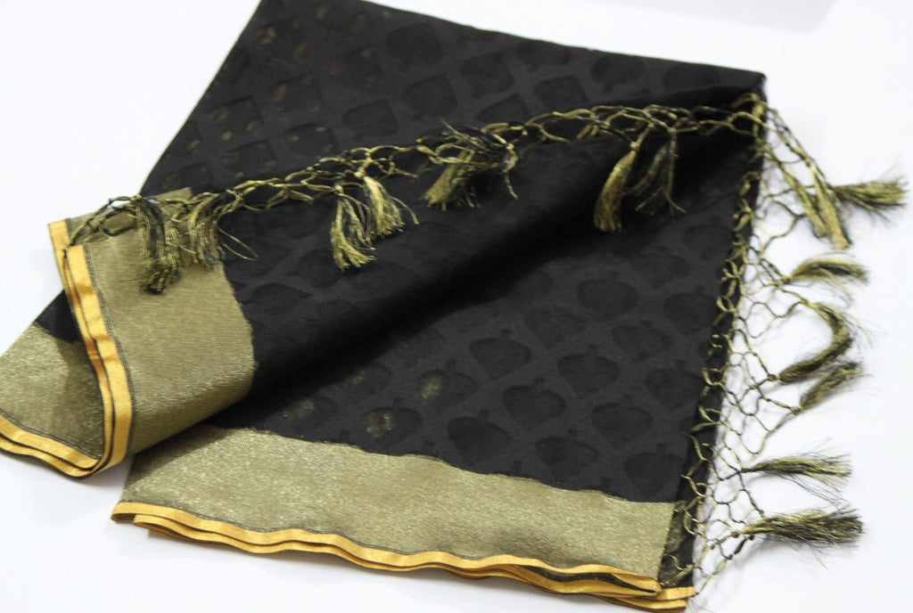 Black Handloom Banarasi Net Dupatta - Dupatta and Stoles - SharePyar