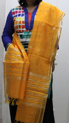 Handloom Net Dupatta with Golden Border - Dupatta and Stoles - SharePyar