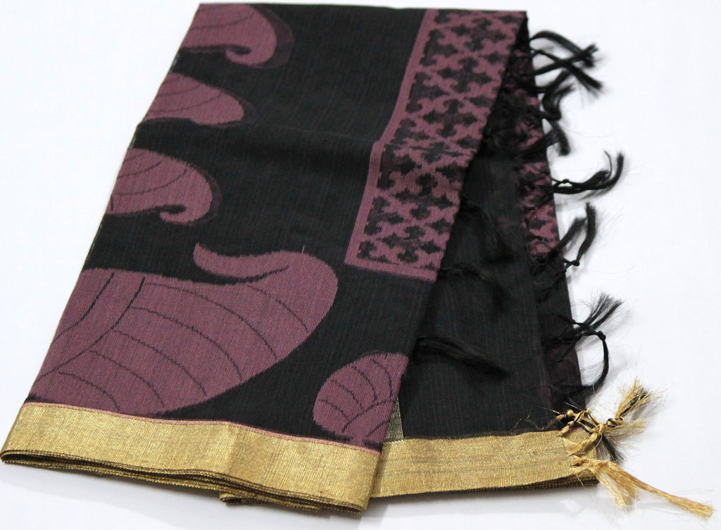 Handloom Net Weaving Dupatta with wide Golden  Border - Dupatta and Stoles - SharePyar
