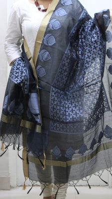 Handloom Net Weaving Dupatta with wide Golden  Border,  Flower Bud Pattern - Dupatta and Stoles - SharePyar