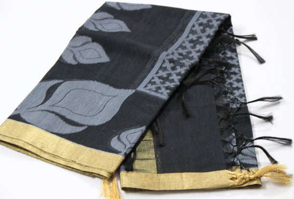 Handloom Net Weaving Dupatta with wide Golden  Border,  Flower Bud Pattern - SharePyar - 4