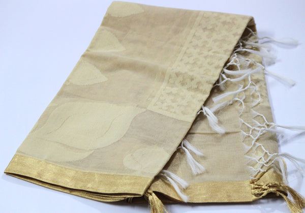 Handloom Net Weaving Dupatta with wide Golden  Border,  Flower Bud Pattern - SharePyar - 5