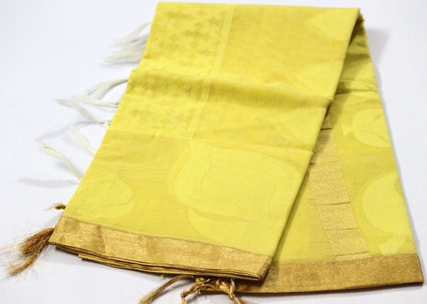 Handloom Net Weaving Dupatta with wide Golden  Border,  Flower Bud Pattern - SharePyar - 7