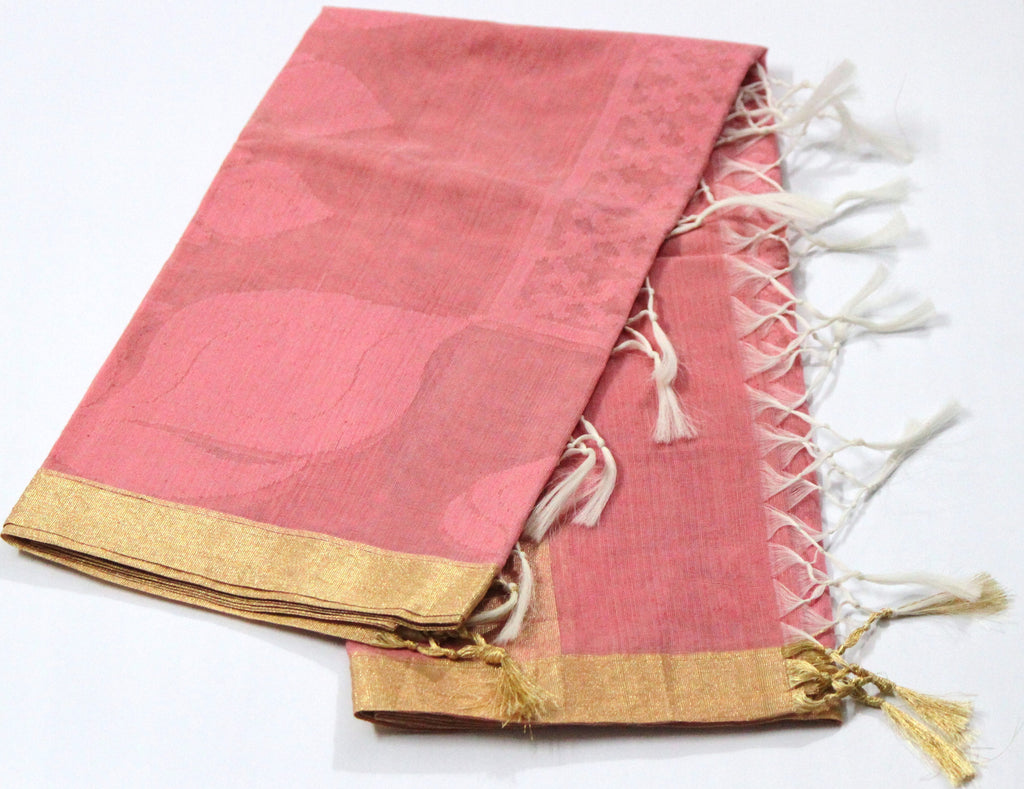 Handloom Net Weaving Dupatta with wide Golden  Border,  Flower Bud Pattern - SharePyar - 2
