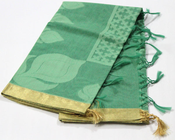 Handloom Net Weaving Dupatta with wide Golden  Border,  Flower Bud Pattern - SharePyar - 8