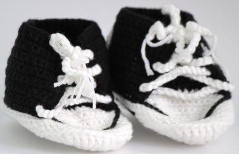 Handmade Crochet Shoes for NewBorn Baby - Black - SharePyar - 1