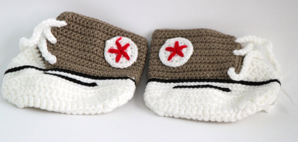 Handmade Crochet Shoes for NewBorn Baby - Brown - Baby Shoes - SharePyar