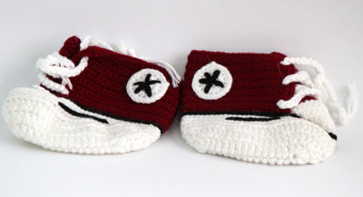 Handmade Crochet Shoes for NewBorn Baby - Dark Maroon - Baby Shoes - SharePyar