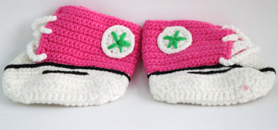 Handmade Crochet Shoes for NewBorn Baby - Dark Pink - Baby Shoes - SharePyar