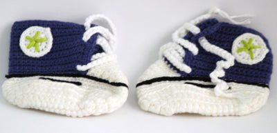 Handmade Crochet Shoes for NewBorn Baby - Navy Blue - Baby Shoes - SharePyar