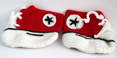Handmade Crochet Shoes for NewBorn Baby - Red - Baby Shoes - SharePyar