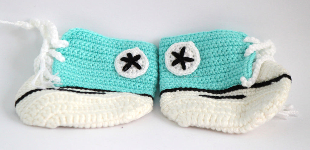 Handmade Crochet Shoes for NewBorn Baby - Sky Blue - Baby Shoes - SharePyar