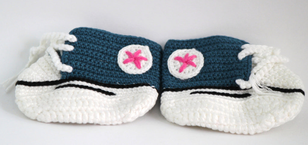Handmade Crochet Shoes for NewBorn Baby - Teal - Baby Shoes - SharePyar