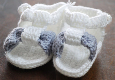 Handmade Crochet Shoes for NewBorn Baby - White/Grey - Baby Shoes - SharePyar
